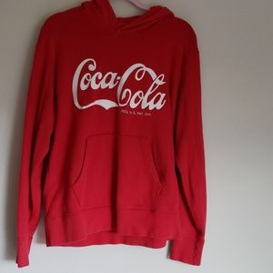 Coca Cola pullover hoodie with front pocket, red
